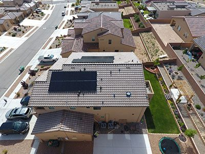 A residential roof with solar that is similar to Albuquerque commercial solar