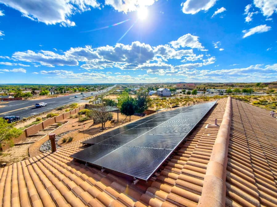 A close up of a roof with Solar Panels Installation Rio Rancho NM